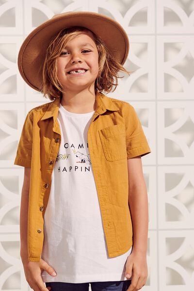 Resort Short Sleeve Shirt, HONEY GOLD TEXTURE