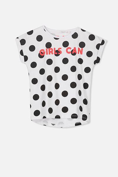 Penelope Short Sleeve Tee, BLACK JUMBO SPOT/GIRLS CAN/DROP