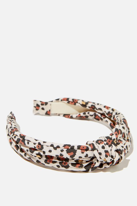 Knotted Headband, SNOW LEOPARD