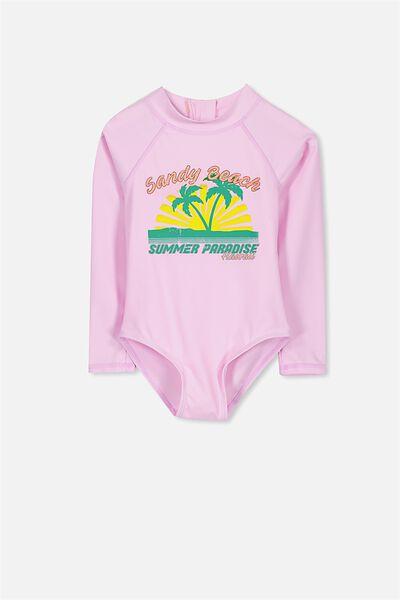 Lydia Rashie Swimsuit, LILAC SORBET/SANDY BEACH