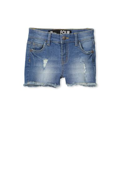 Cleo Raw Edge Denim Short, MID BLUE#4