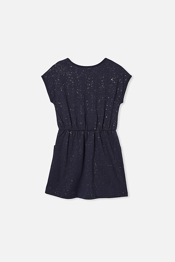 Sigrid Short Sleeve Dress, INDIAN INK/GALACTIC SPARKLE