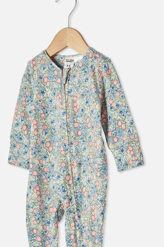 The Long Sleeve Zip Romper, DARK VANILLA/DUSK BLUE ANNIE FLORAL
