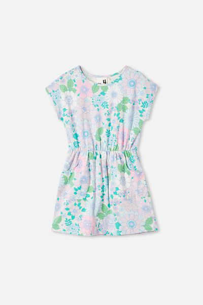 Sigrid Short Sleeve Dress, OAT MARLE/RETRO FLORAL