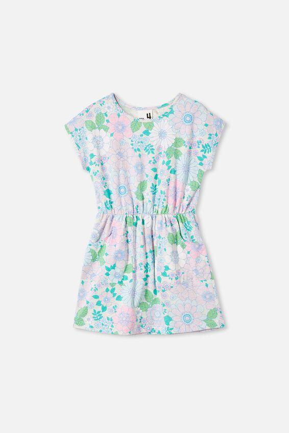 Sigrid Short Sleeve Dress, OAT MARLE/RETRO FLORAL