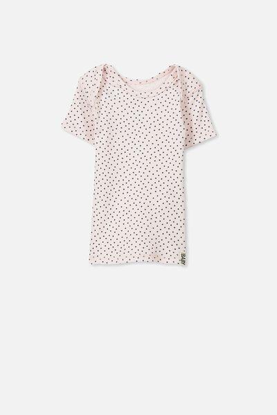 Mini Short Sleeve Rib Tee, SOFT PINK/GRAPHITE GREY SPOT