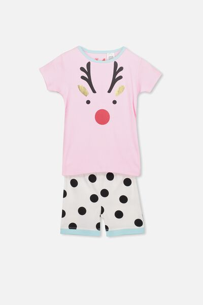 Chloe Girls Short Sleeve PJ Set, XMAS REINDEER SPOT