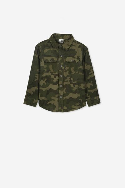 Noah Long Sleeve Shirt, CAMO CORDUROY