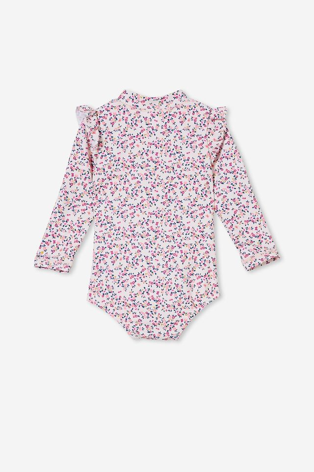 Nicky Long Sleeve Ruffle Swimsuit, CRYSTAL PINK/POPCORN SOMERSET FLORAL