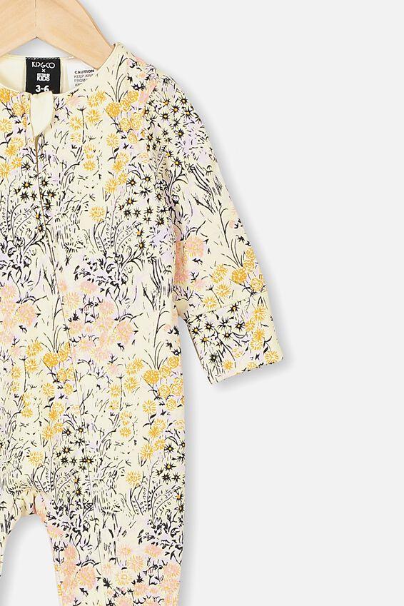 Kip&Co Long Sleeve Zip Romper, LCN KIP LITTLE FLOWERS