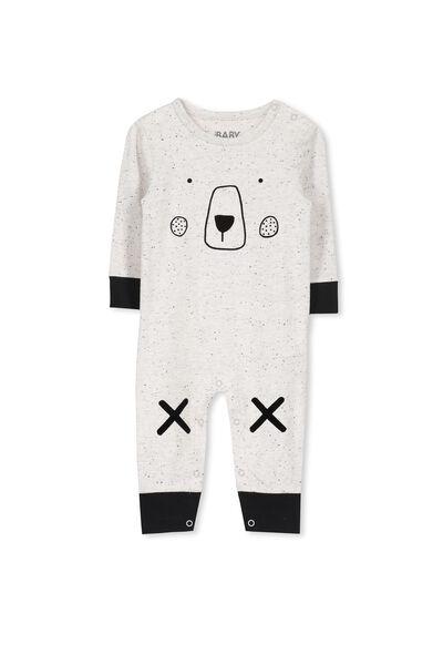 Mini Long Sleeve Snap Bodysuit, NEP GREY MARLE/BEAR FACE