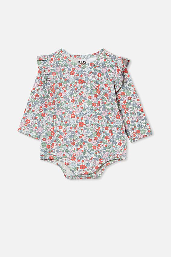 The Long Sleeve Ruffle Bubbysuit, VANILLA/CALI PINK GARDEN FLORAL