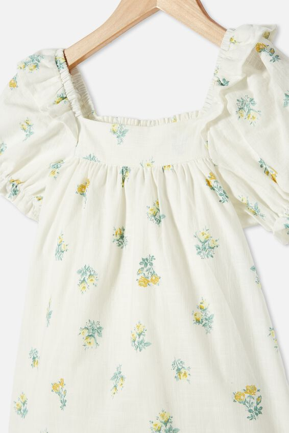 Aimee Short Sleeve Dress, VANILLA POSEY FLORAL