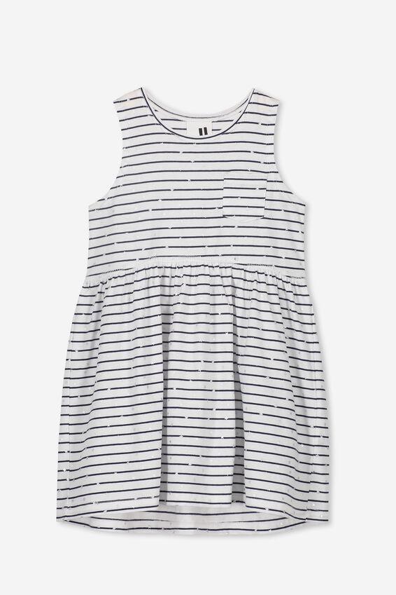 Freya Sleeveless Dress, WHITE/PEACOAT STRIPE/STARS