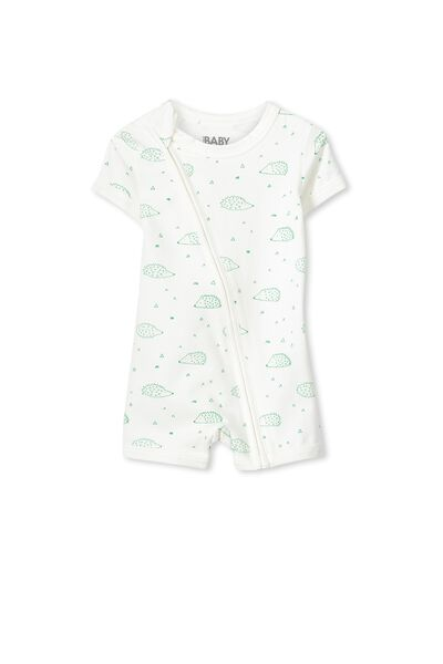 Mini Short Sleeve Zip Through All In One, VANILLA/ HEDGEHOG