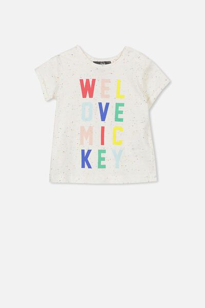 License Ss Ginger Tee, OATMEAL MARLE SPECKLE/LOVE MICKEY