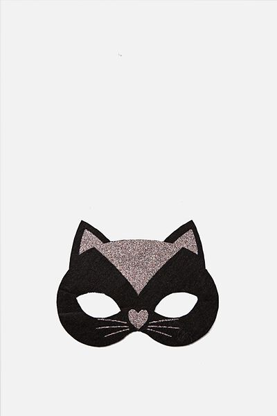 Glitzy Fun Mask, BLACK AND APRICOT CAT