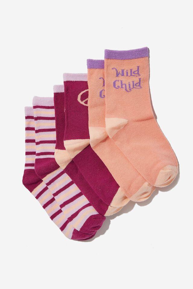 Kids 3Pk Crew Socks, WILD CHILD/MUSK MELON