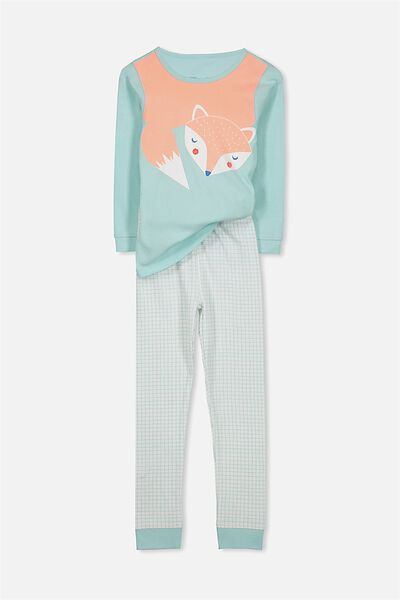 Alicia Long Sleeve Girls PJ Set, SLEEPY FOX