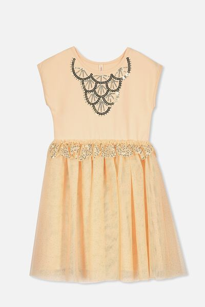 Iris Tulle Dress, DUSTY PEACH/ART DECO