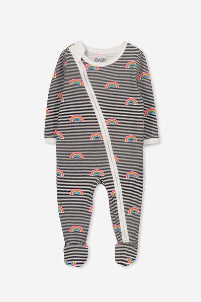 Sleep Mini Zip All In One Jumpsuit, VANILLA/RAINBOWS ON STRIPE
