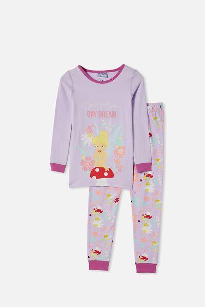 Lila Long Sleeve Pajama Set, LCN DIS TINKERBELL VINTAGE LILAC