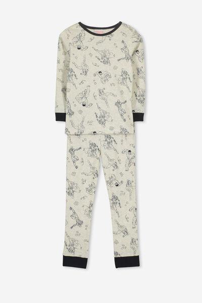 Harry Long Sleeve V3 Boys Pyjama Set, LCN MAR MONOCHROME AVENGERS