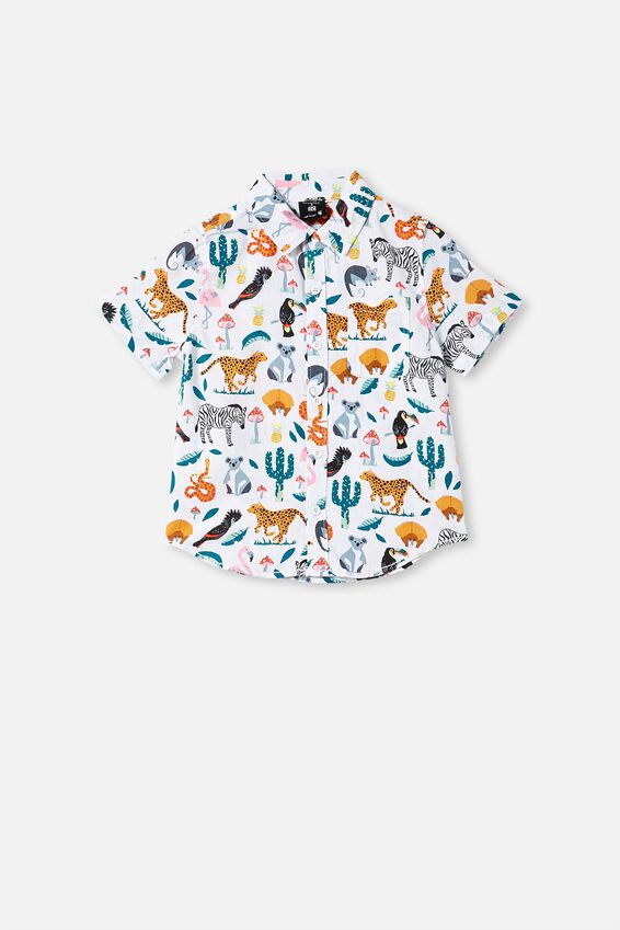 Kip&Co Boys Short Sleeve Shirt, LCN KIP IN THE JUNGLE