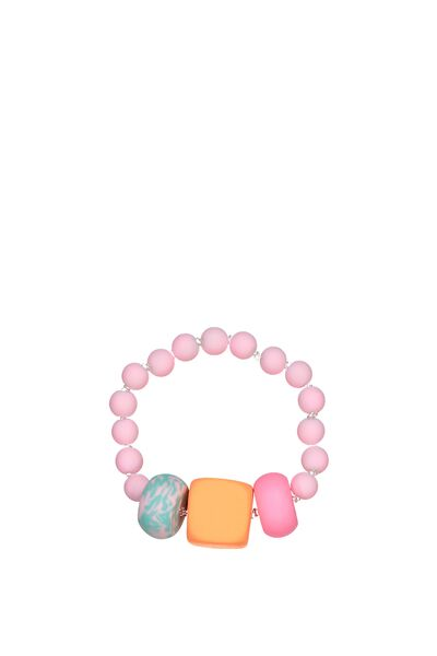 Mixed Beaded Bracelet, BUBBLEGUM PINK
