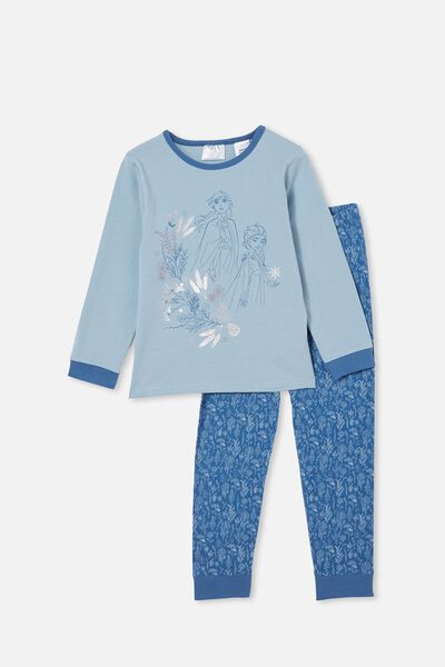Florence Long Sleeve Pyjama Set Licensed, LCN DIS FROZEN FLORAL/DUSTY BLUE