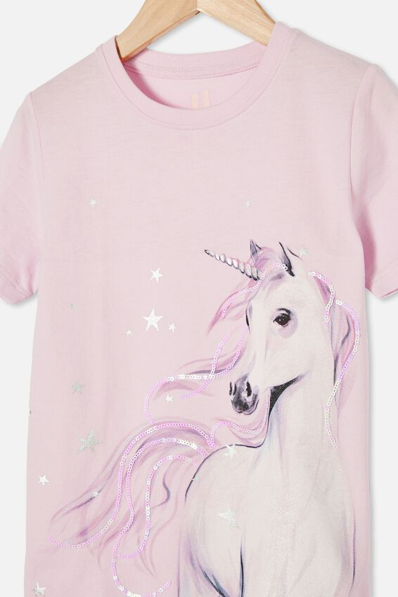 Stevie Short Sleeve Embellished Tee, LAVENDER FOG WATERCOLOUR UNICORN