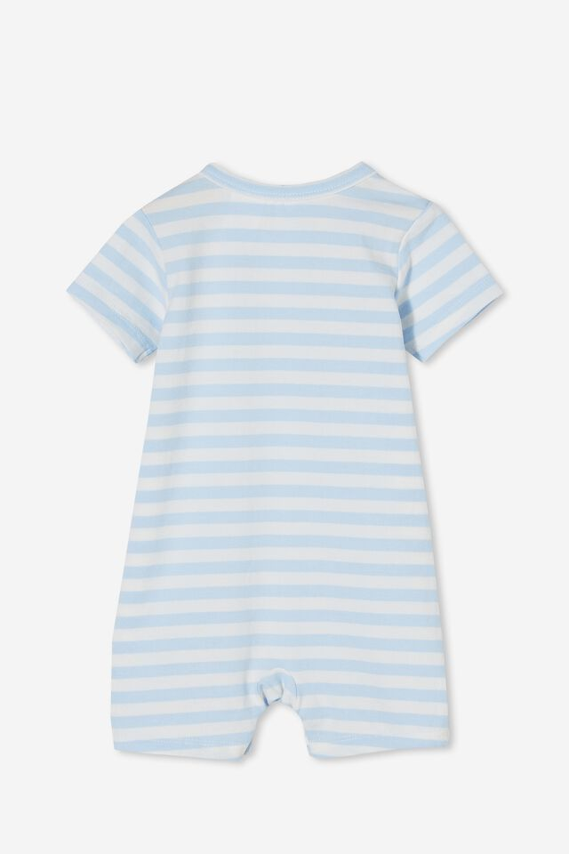 The Short Sleeve Romper, HANNAH STRIPE WHITE WATER BLUE/VANILLA