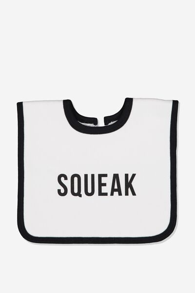 The Everyday Bib, WHITE/SQUEAK