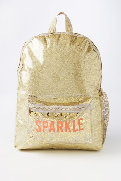 School Backpack, GOLD GLITTER SPARKLE