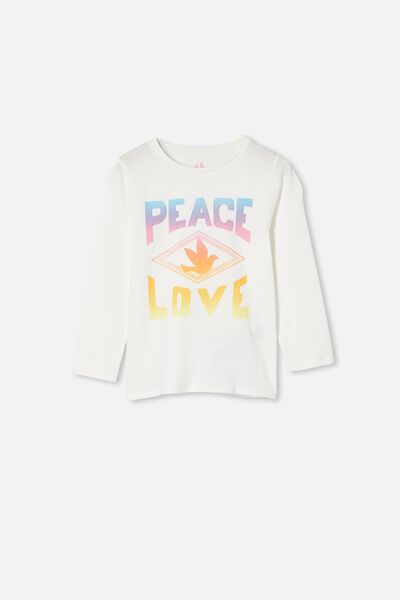 Penelope Long Sleeve Tee, VANILLA/PEACE AND LOVE