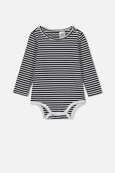NEW. The Long Sleeve Bubbysuit, CHRIS STRIPE WHITE/BLACK