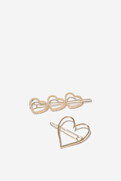 Hair Clips, GOLDY HEART CLIPS