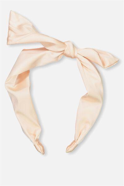 Printed Bow Headband, SHELL PEACH