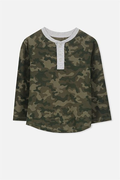 Bentley Henley Long Sleeve Tee, CAMO/RAGLAN