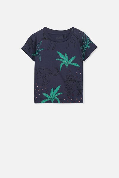 Freddie Ss Tee, WASHED NAVY/LEOPARD PALM