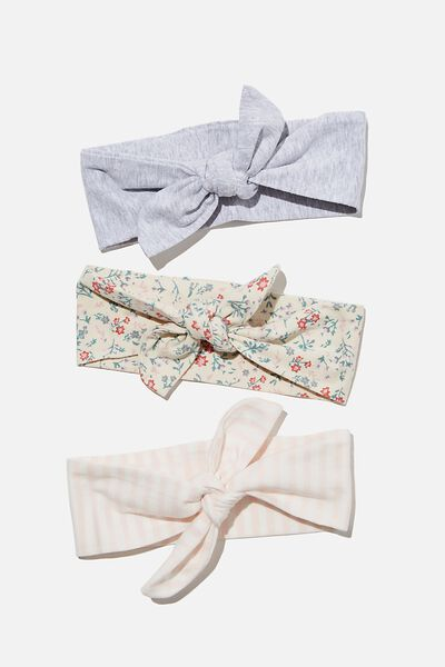 3 Pack Tie Headband, MAUDE FLORAL/CLOUD MARLE/CRYSTAL PINK STRIPE