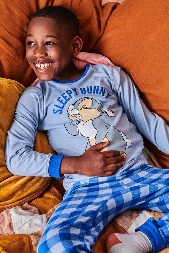 Orlando Long Sleeve Pyjama Set Licensed, LCN DIS THUMPER SLEEPY BUNNY/DUSTY BLUE