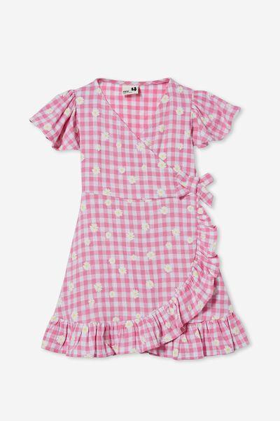 Britta Short Sleeve Dress, PINK PUNCH GINGHAM/DAISIES