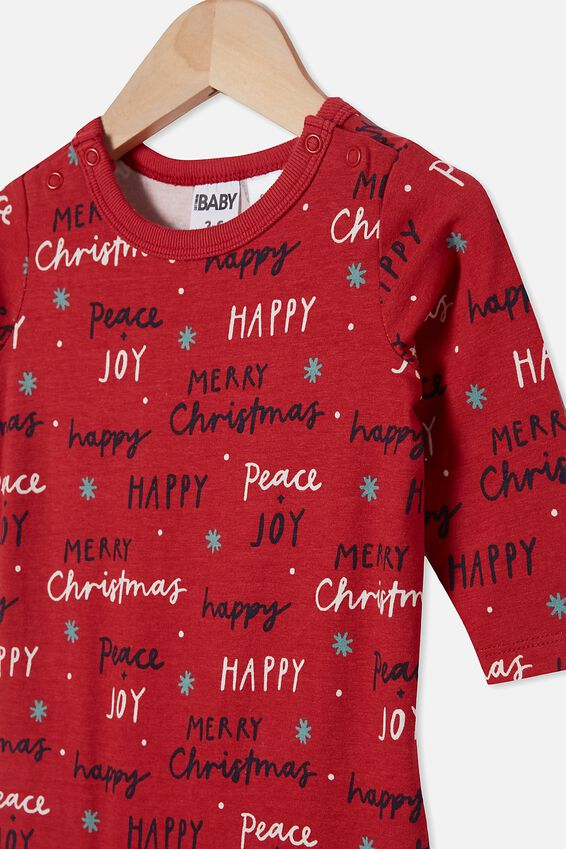 Baby Christmas Long Sleeve Snap Romper, LUCKY RED/PEACE AND JOY