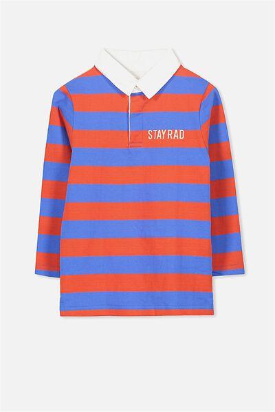 Robby Rugby, FIERY RED/YARD BLUE STRIPE/STAY RAD