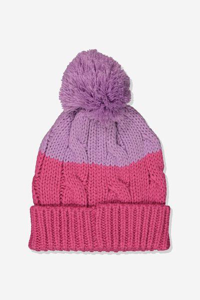 Winter Knit Beanie, PINK/LILAC POM POM