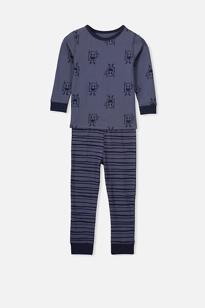 Harrison Long Sleeve Boys Pyjamas, MONSTERS/NAVY