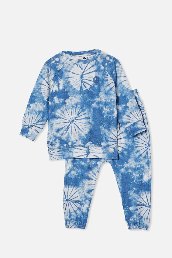 Marcus Long Sleeve Lounge Set, SUPER SOFT TIE DYE/RETRO BLUE