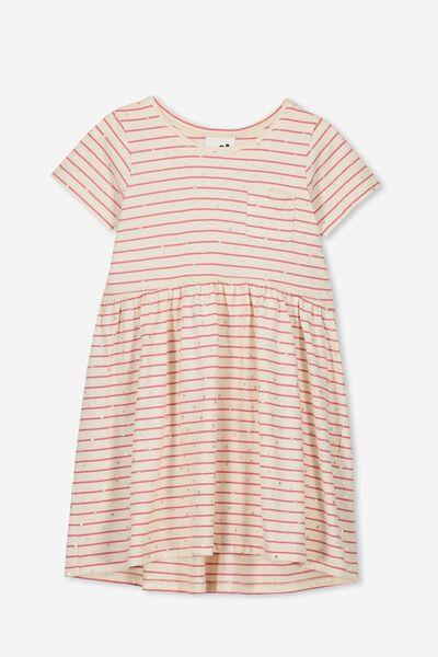 Freya Short Sleeve Dress, VINTAGE VANILLA/RETRO RED STRIPE/STARS