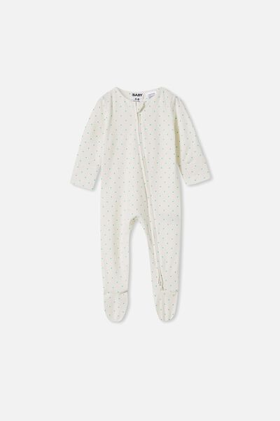 The Long Sleeve Zip Romper, JOY SPOT VANILLA/APPLE CRISP